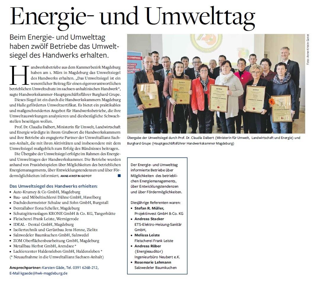 Umweltsiegel Bau- und Möbeltischlerei Dähne GmbH 2018